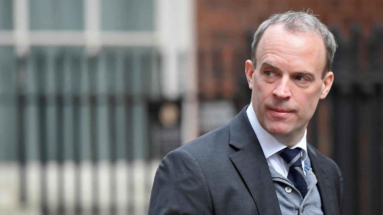 Dominic Raab fue designado por el gobierno de Boris Johnson como ministro de Asuntos Exteriores de Reino Unido desde julio de 2019. Foto: 11 de marzo de 2020.
