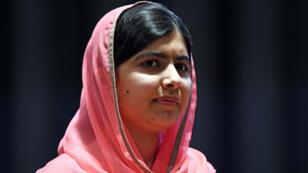 Malala lors d'une cérémonie au siège de l'ONU, à New York, le 10 avril 2017.