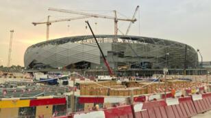 Construction d'un stade à Doha, au Qatar, en mai2018.