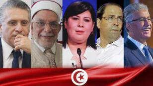 De izquierda a derecha los candidatos presidenciales de Túnez: Nabil Karoui, Abdelfattah Mourou, Abir Moussi, Youssef Chahed y Hamma Hammami.