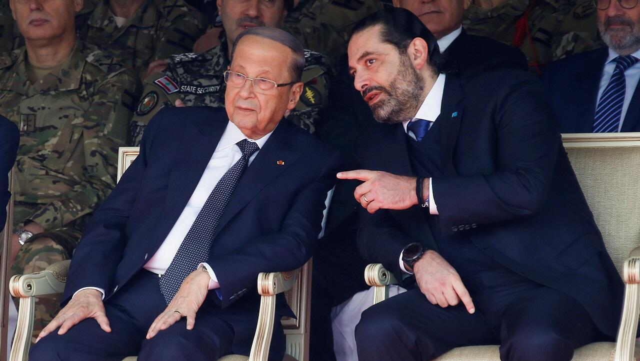 الرئيس اللبناني ميشال عون ورئيس الوزراء المستقيل سعد الحريري، 22 نوفمبر/تشرين الثاني 2019.