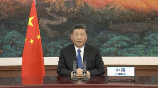 Chinese President Xi Jinping delivering a speech via video link at the World Health Assembly virtual meeting from the WHO headquarters in Geneva, May 18, 2020.