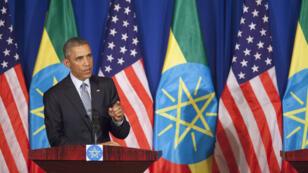 Le président Barack Obama durant une conférence de presse conjointe avec le Premier ministre éthiopien Hailemariam Desalegn, le 27 juillet 2015 à Addis Abeba.