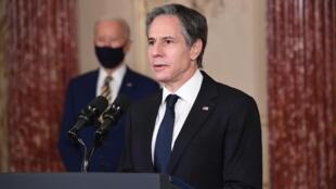 وزير الخارجية الأميركي انتوني بلينكن في وزارة الخارجية الأميركية في واشنطن في 04 شباط/فبراير 2021
