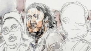 Salah Abdeslam, dessiné le 5 février 2018, lors de l'ouverture de son procès au tribunal de Bruxelles.