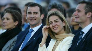 L'infante Cristina et son mari, Iñaki Urdangarin (à droite), sont tous deux accusés de détournement d'argent public. Ici, à Madrid, en mai 2003.
