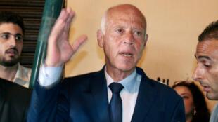 Kais Saïed lors d'une intervention auprès des médias le 15 septembre 2019 à son QG de campagne à Tunis.