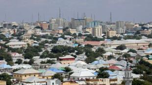 Vue aérienne de la capitale somalienne, Mogadiscio, le 14 février 2018.