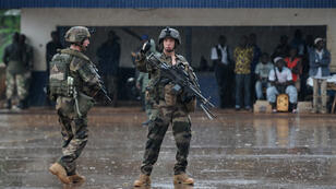 French soldiers on patrol in Central African Republic.
