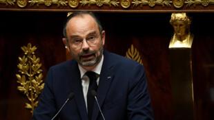 رئيس الحكومة الفرنسي إدوار فيليب أثناء إلقائه كلمة أمام البرلمان