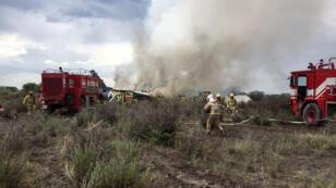 El avión de pasajeros de la aerolínea Aeroméxico que se estrelló el martes 31 de julio de 2018, en las inmediaciones Aeropuerto Guadalupe Victoria de Durango (México).