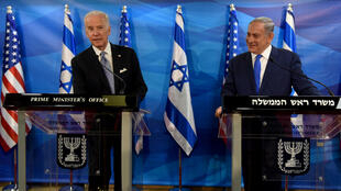 Joe Biden (L, pictured in 2016 while US vice president) has not yet set a time or date to talk with Israeli Prime Minister Benjamin Netanyahu