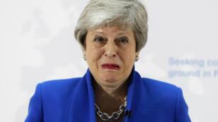 La primera ministra británica, Theresa May, mientras pronunciaba un discurso de apertura en el centro de Londres el 21 de mayo de 2019.