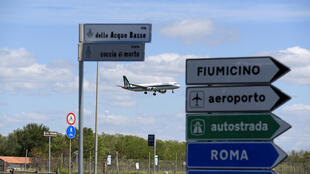A plane lands at the Fiumicino airport, amid the coronavirus disease outbreak, in Rome, Italy, May 3, 2020.