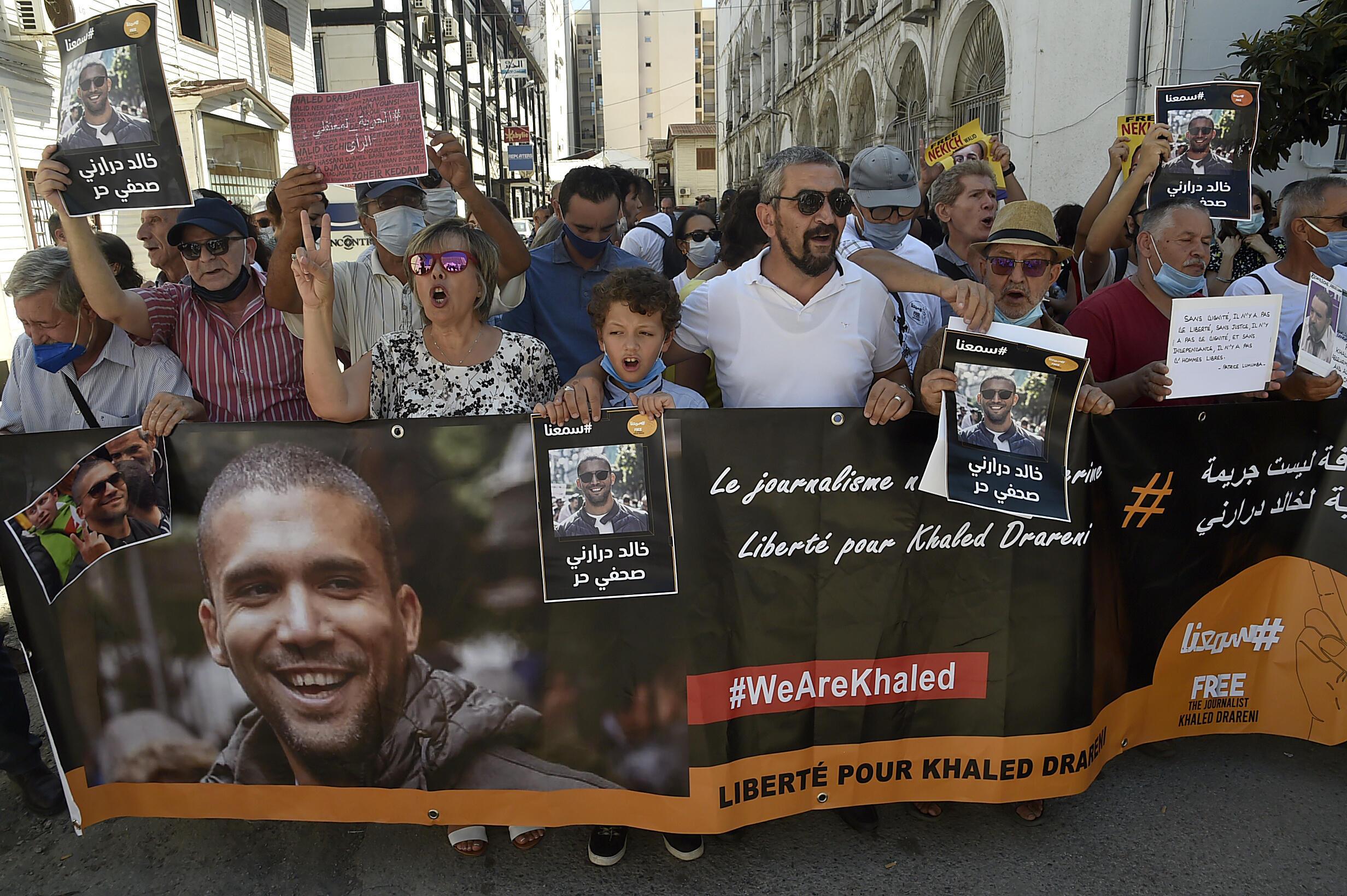 مظاهرة تطالب بإطلاق سراح الصحافي خالد درارني في الجزائر العاصمة. 14 سبتمبر/أيلول 2020.