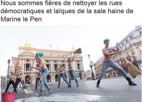 """ناشطات """"فيمن""""  """"يطهرن"""" شوارع باريس من """"كراهية"""" مارين لوبان"""