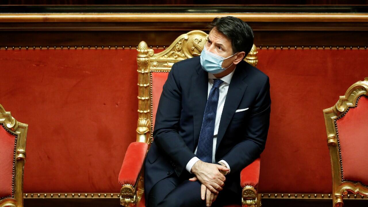 El primer ministro de Italia, Giuseppe Conte, en una sesión parlamentaria el 19 de enero de 2021 en Roma, Italia.