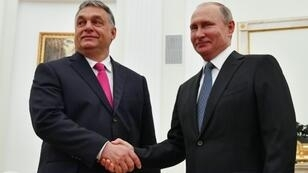 Hungary's Prime Minister Viktor Orban (left) denounced EU sanctions against Russia during a meeting in Moscow with President Vladimir Putin