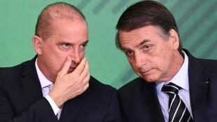 Chief of Staff Onyx Lorenzoni (L) and far-right President Jair Bolsonaro (R) want to sweep away the leftwing ideology of the Workers Party, which ruled Brazil 2003-2016