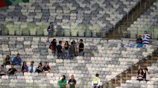 Pocos aficionados en una tribuna durante el partido Uruguay vs. Ecuador del Grupo C de la Copa América, en el Estadio Mineirao de Belo Horizonte, Brasil, el 16 de junio de 2019.