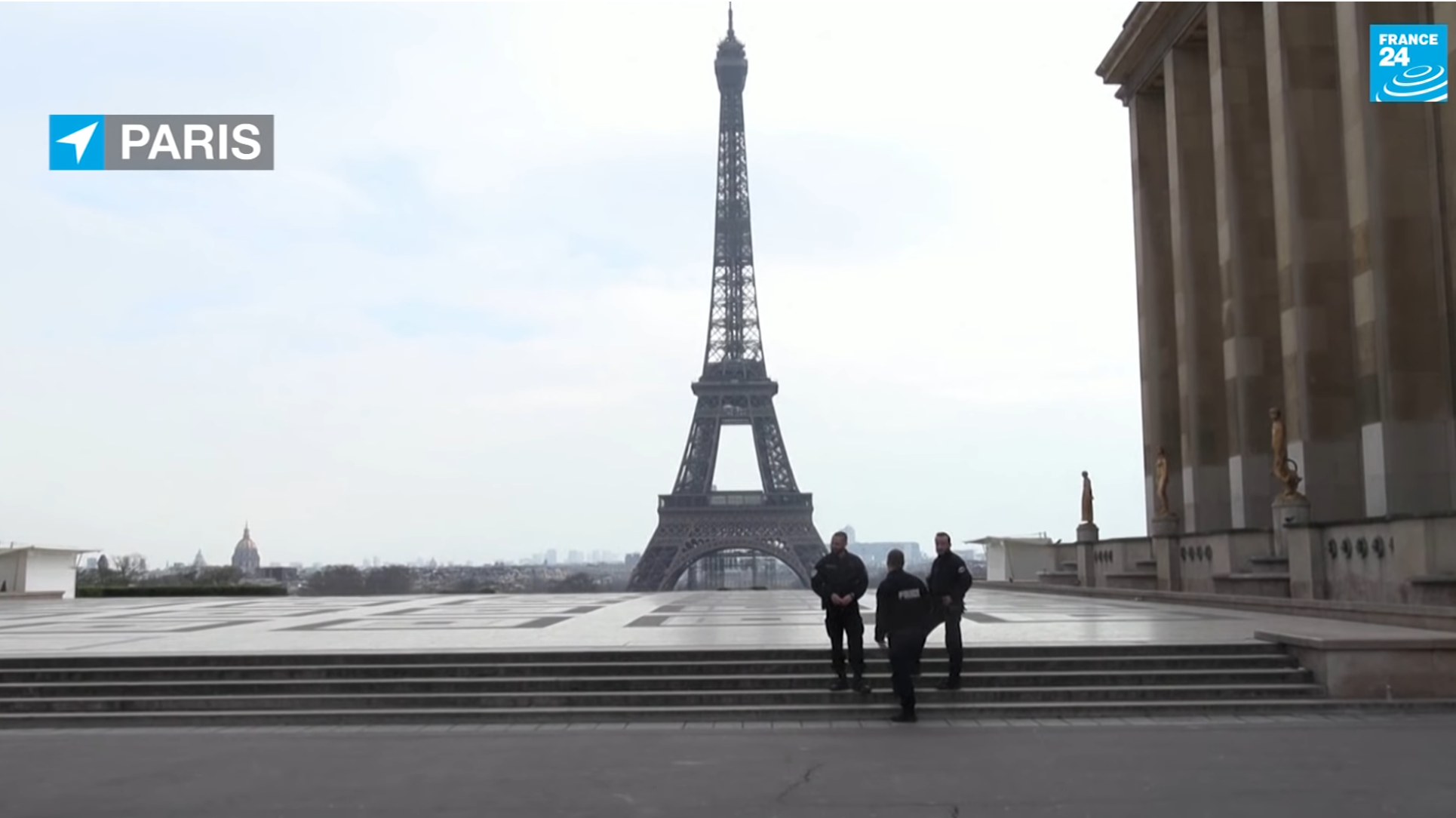 Only the police are visiting the Eiffel Tower during lockdown in Paris, March 18 2020.