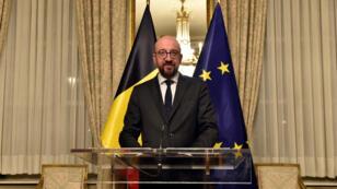 El primer ministro belga Charles Michel brinda una conferencia de prensa en Bruselas, el 8 de diciembre de 2018.