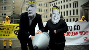 Des activistes de l'Ican protestent devant l'ambassade de Corée du Nord à Berlin, le 13 septembre 2017.