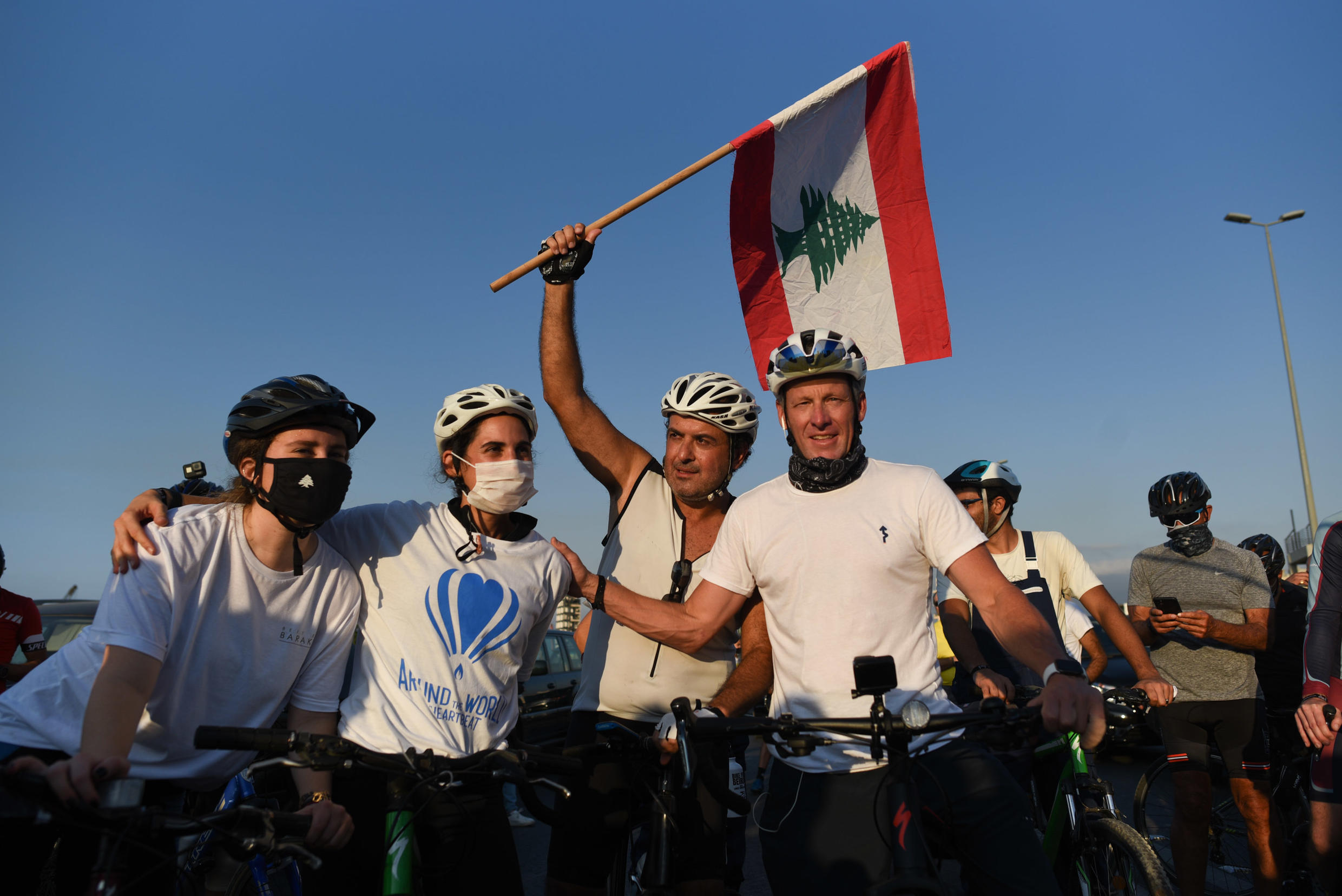 """US cycling icon Lance Armstrong during the """"Bike for Beirut"""" fundraising initiative."""