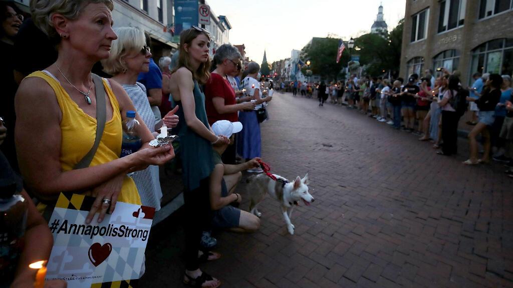 Une veillée a été organisée à Annapolis en mémoire des victimes de la fusillade.