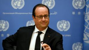Le président François Hollande a évoqué la première frappe aérienne française en Syrie, en marge de l'Assemblée générale des Nations unies à New York, le 27 septembre 2015.