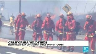 2019-10-31 12:41 California: New wildfires break out as high winds whip up flames