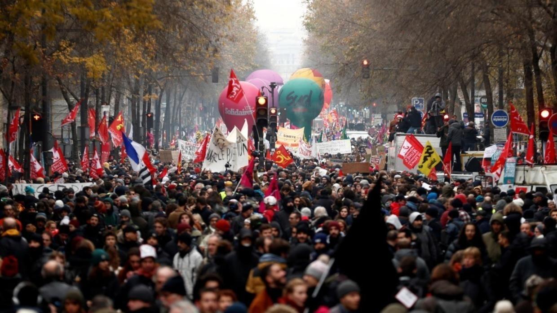 Manifestación contra la reforma pensional en París, el 5 de diciembre de 2019.