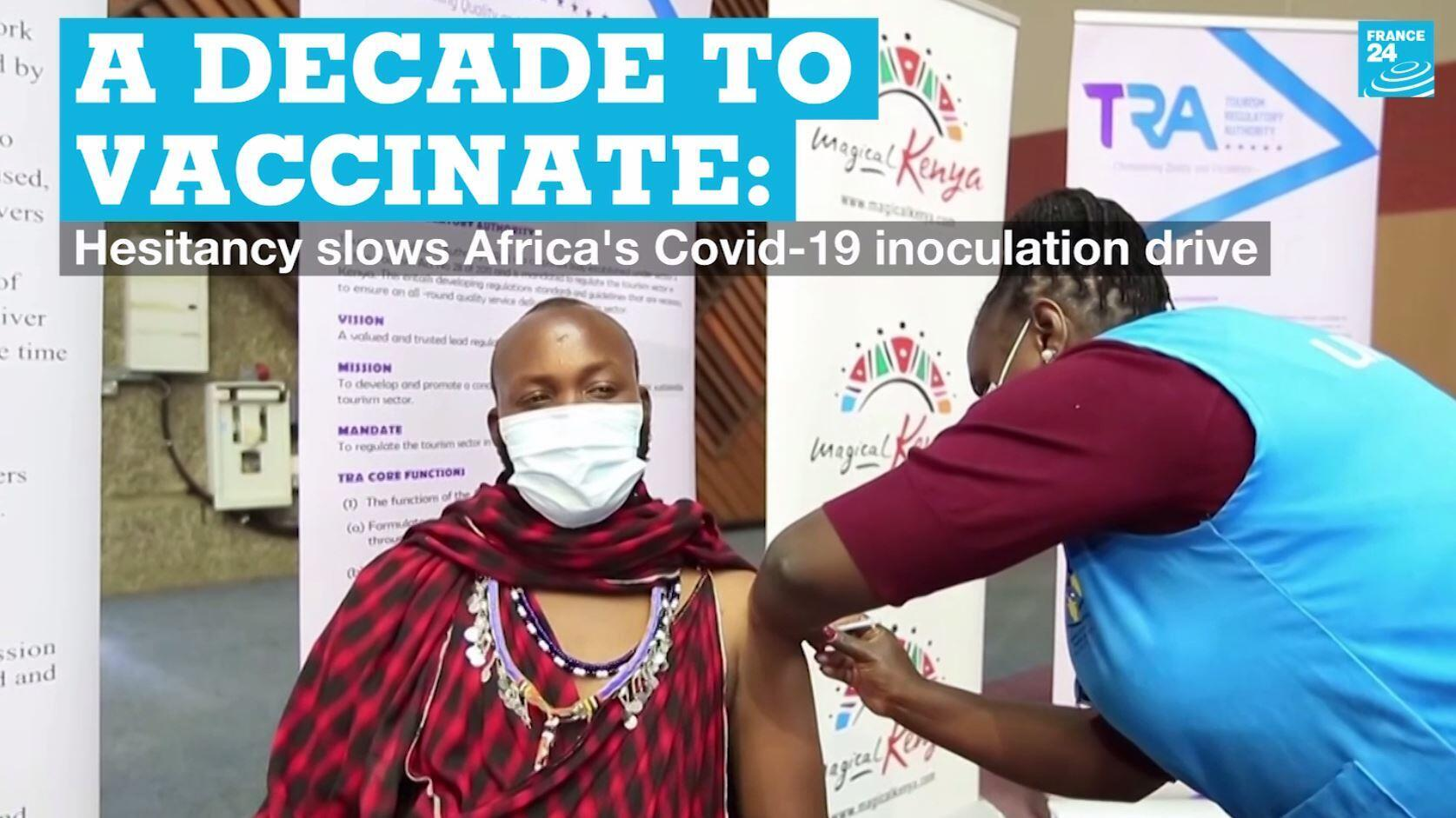 A man is vaccinated against Covid-19 in Nairobi, Kenya, on APril 27, 2021.