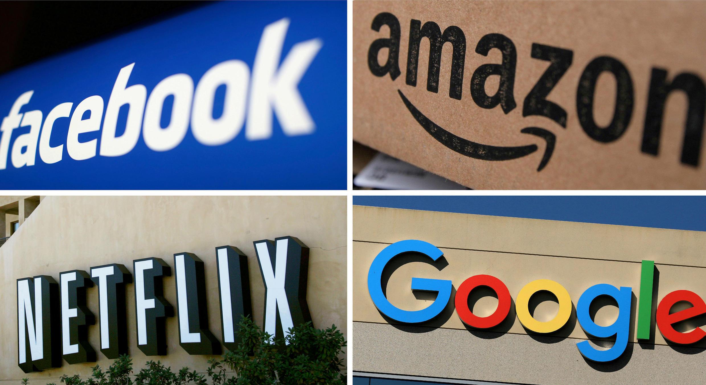 Fotomontaje con logos de Netflix, Amazon, Facebook y Google.