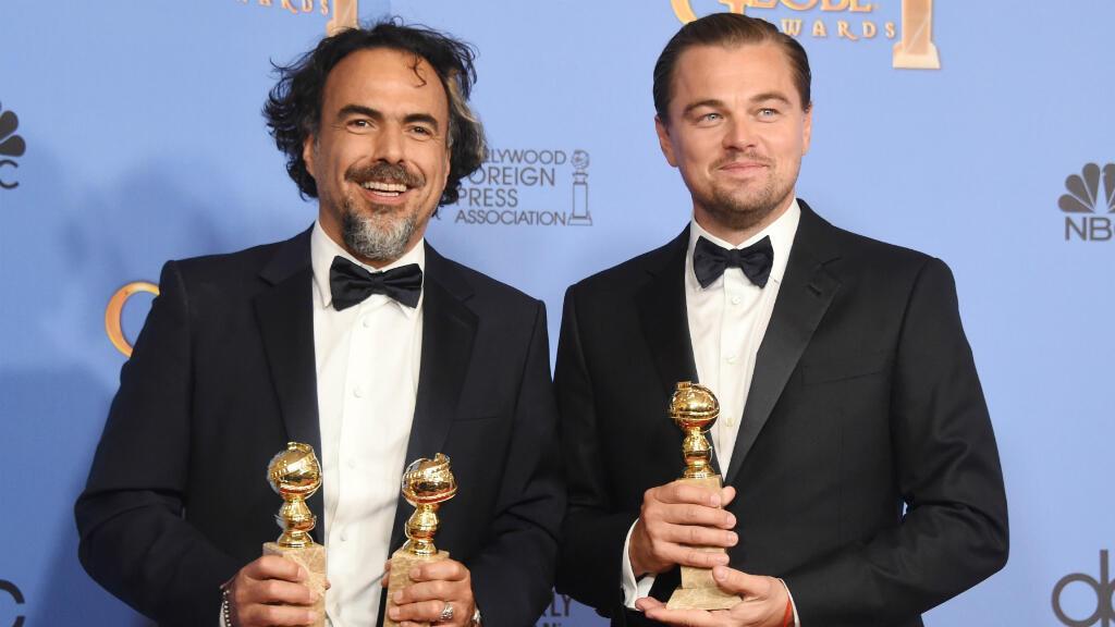 L'acteur Leonardo DiCaprio aux côtés du réalisateur mexicain Alejandro Inarritu, le 10 janvier 2016 à Los Angeles.