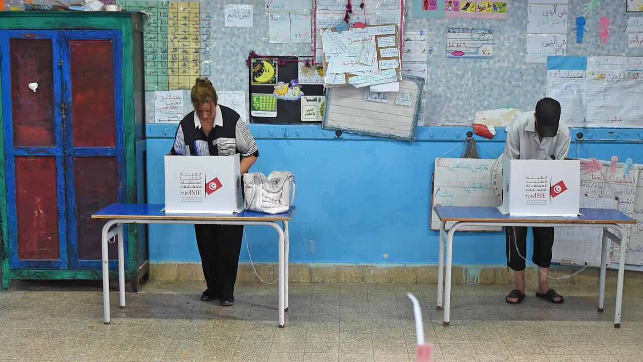Un bureau de vote à Tunis, le 15 septembre 2019.