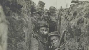 Un groupe de soldats du 120erégiment d'infanterie dans les Vosges, en mars1915.