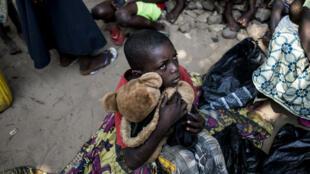 Un enfant dans le camp de déplacé de Kikwut, le 7 juin 2017.