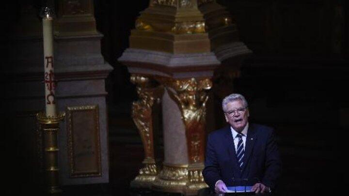 Le président allemand, Joachim Gauck, dans la cathédrale de Berlin où il a reconnu le génocide arménien, le 23 avril 2015.