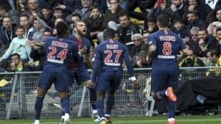 لقطة من مباراة نانت وباريس سان جرمان في إستاد لا بوجوار بنانت، غرب فرنسا، في 17 أبريل/نيسان 2019.