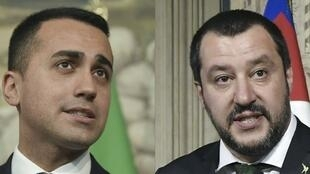 Los jefes de ambas formaciones italianas, Luigi Di Maio del Movimiento 5 Estrellas y Matteo Salvini de la Liga Norte.