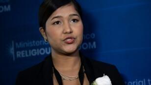 الناشطة من الروهينغا واي واي نو تتحدث في مقابلة مع وكالة فرانس برس في وزارة الخارجية الأميركية بواشنطن، الاربعاء 17 تموز/يوليو 2019