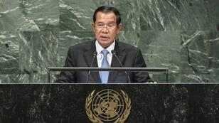 Cambodia's Prime Minister Hun Sen addresses the General Assembly at the United Nations in New York on September 28, 2018