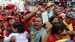 Manifestation de soutien aux nouvelles réformes économiques du gouvernement, le 21 août 2018 à Caracas.