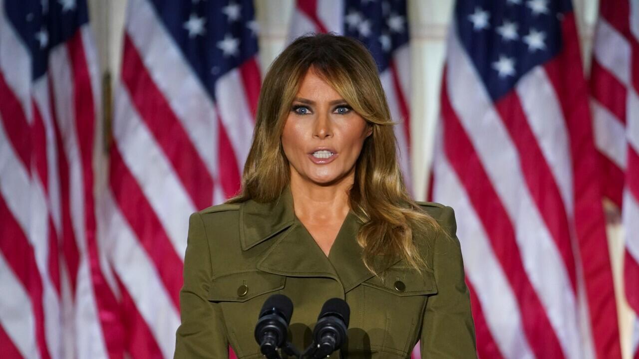 La primera dama de Estados Unidos, Melania Trump, durante su discurso en la segunda noche de la Convención Nacional Republicana, en respaldo a Donald Trump, el 25 de agosto de 2020.
