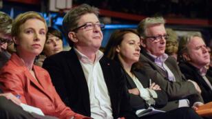 (de g. à dr.) Clémentine Autain, Jean-Luc Mélenchon, Cécile Duflot et Pierre Laurent