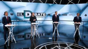 Los principales candidatos para la elección general española se presentaron en un debate televisado en Sebastián de los Reyes, a las afueras de Madrid, España, el 23 de abril de 2019.