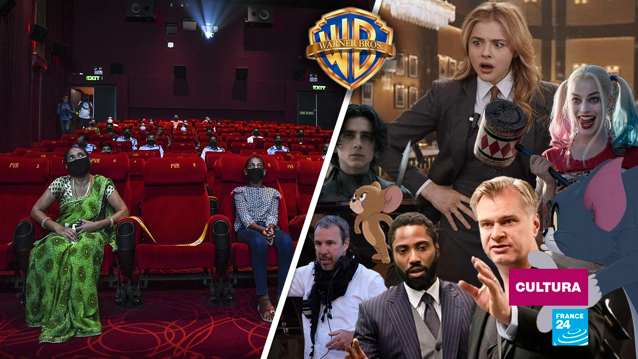 En medio del conflicto, el logotipo de Warner Bros. A la izquierda, una sala de cine en India que, además de la pandemia, ahora teme perder espectadores por estrenos simultáneos. A la derecha, algunos directores y películas involucrados en la decisión de la compañía.