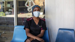 Nurse Nosipho Dlamini at the Charlotte Maxeke Hospital in Johannesburg which was swamped by patients last month