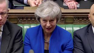Theresa May après le vote de la motion de censure au Parlement britannique, le 16 janvier 2019.